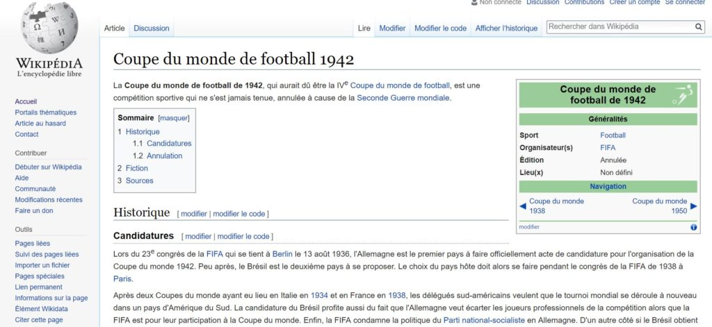 Fiche Wikipedia de la Coupe du Monde de football 1942