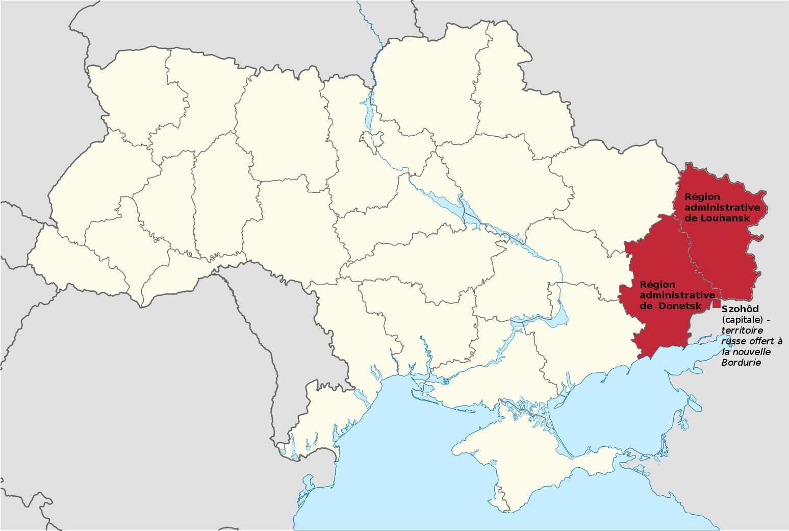 Carte montrant les territoires ukrainiens ayant fais secession pour créer la Bordurie