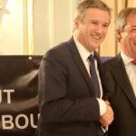 Nicolas Dupont-Aignan (Debout La France) et Nigel Farage (pro-Brexit)