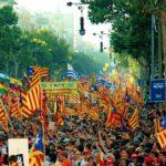 Manifestations des independantistes catalans à Barcelone