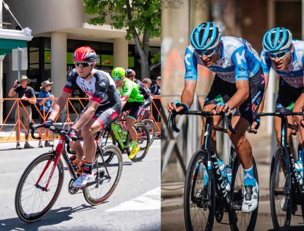 Les équipes Team Emirates et Israel Start Up Nation sur le Tour de France