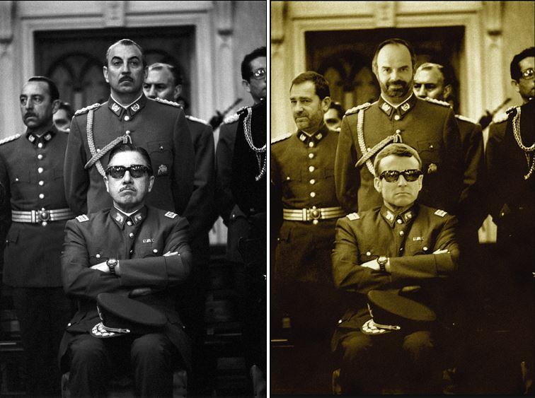 Macron et sa fine équipe prenant la pose pour rendre hommage à Pinochet