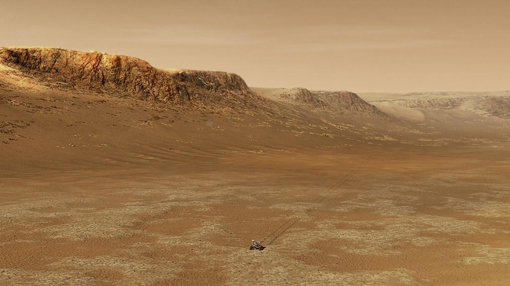 Roboet Perserverance en train s'explorer la planète Mars